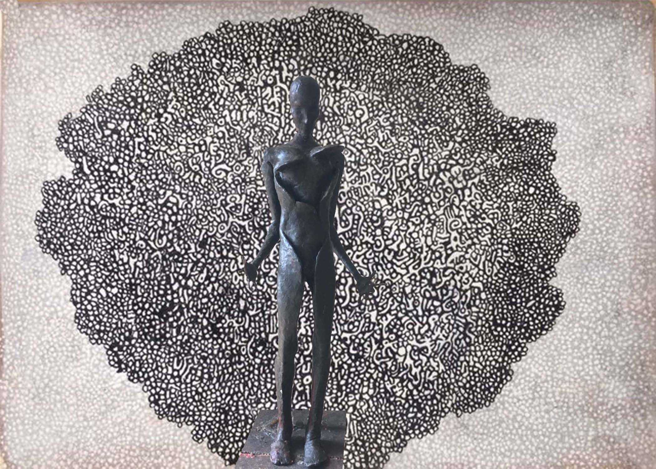 Finds Heart, 2019, pen/ink drawing and wax sculpture from Apology To Loneliness by Tom Cleveland